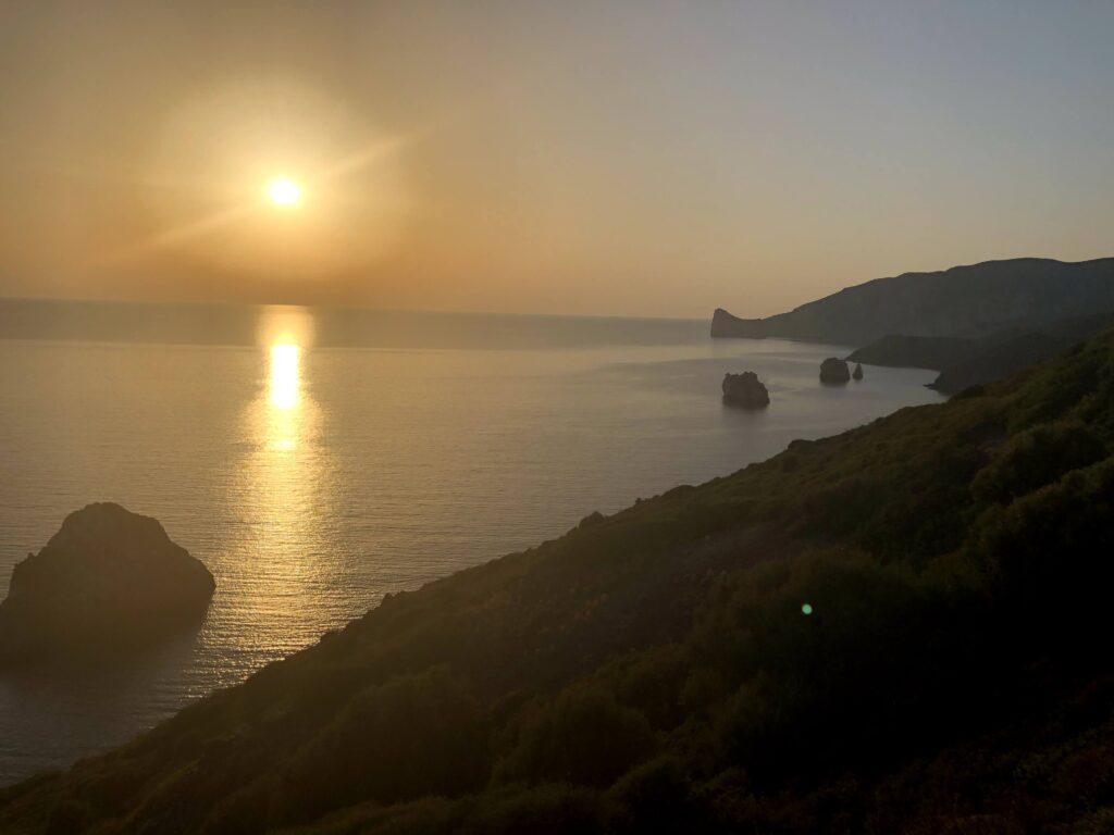 il tramonto dal Belvedere di Nebida